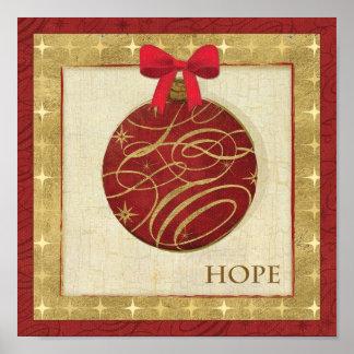 Decorações vermelhas do Natal Poster
