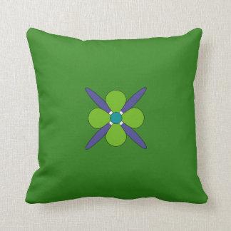 Decorativo floral verde-claro, roxo & azul almofada