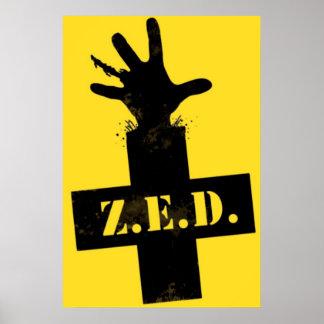 """Defesa da emergência do zombi - """"ZONA SEGURA """" Impressão"""