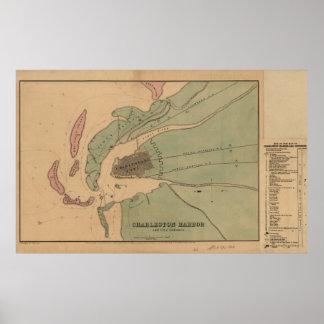 Defesas do porto e da cidade de Charleston Pôsteres