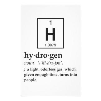 Definição do hidrogênio papelaria