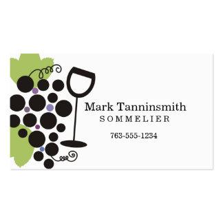 degustação de vinhos preta do sommelier do vidro cartão de visita