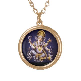 Deidade Hindu do elefante asiático de Ganesh Colar Banhado A Ouro