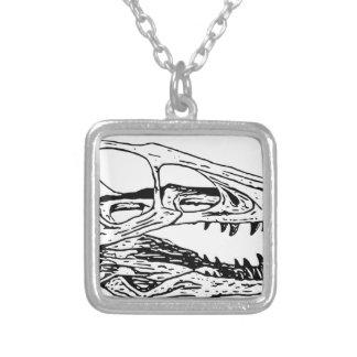 Deinonychus Colar Banhado A Prata