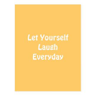 Deixado para rir diário. Amarelo Cartoes Postais