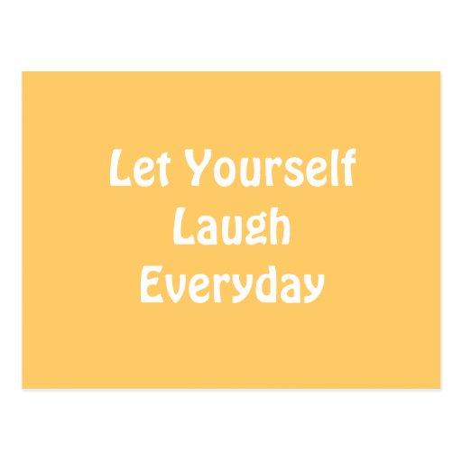 Deixado para rir diário. Amarelo Cartões Postais