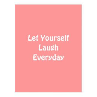 Deixado para rir diário. Brandamente rosa Cartão Postal