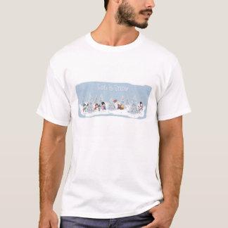 Deixais lhe para nevar bonecos de neve tshirt