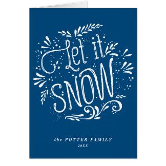Deixais lhe para nevar cartão azul do feriado do