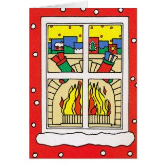 Deixais lhe para nevar! , Lareira do Natal Cartão Comemorativo