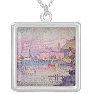 Deixando o porto de Santo-Tropez, 1902 Colar Banhado A Prata