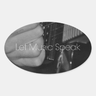 Deixe a música falar adesivo oval