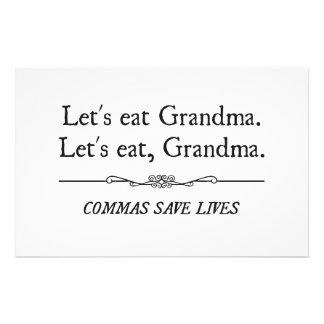 Deixe-nos comer a avó que as vírgulas salvar vidas papelaria