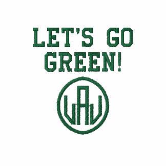 Deixe-nos ir t-shirt bordado verde dos homens