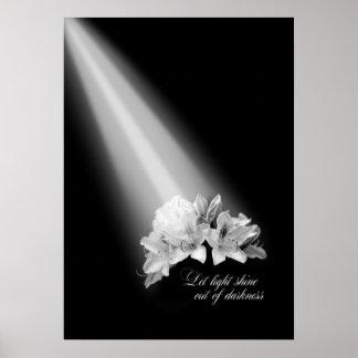 Deixe o brilho claro fora da escuridão preto e bra poster