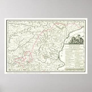 Del Quijote de Mapa-Mapa de la Ruta da rota de Don Pôster