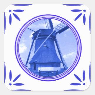 Delft-Azul-Azulejo-Olhar do moinho de vento de Adesivo Em Forma Quadrada