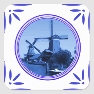 Delft-Azul-Azulejo-Olhar dos moinhos de vento de Adesivo Em Forma Quadrada