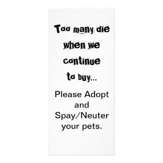 Demasiado morrem… adotam Spay/cartão neutro da 10.16 X 22.86cm Panfleto