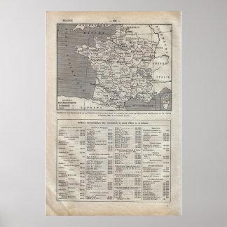 Departamentos 1920 históricos de France do vintage Impressão