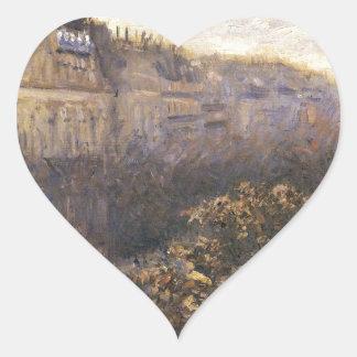 DES Italiens do bulevar por Gustave Caillebotte Adesivo Coração