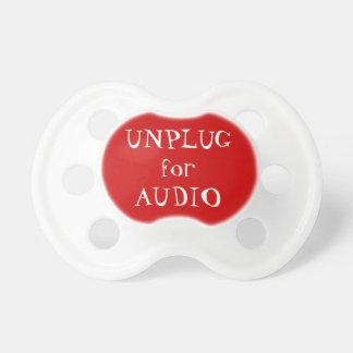 Desconecte para o áudio chupeta