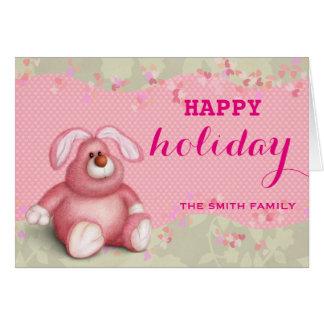 Desejando o rosa feliz do feriado caçoa o Natal do Cartão Comemorativo