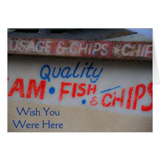 Desejo do sinal do peixe com batatas fritas você cartão