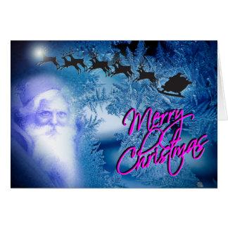 Desejos azuis frios gelados do feriado de Papai Cartão Comemorativo