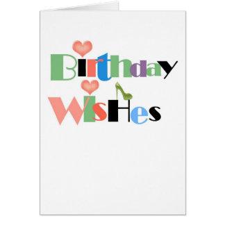 Desejos do aniversário cartão comemorativo