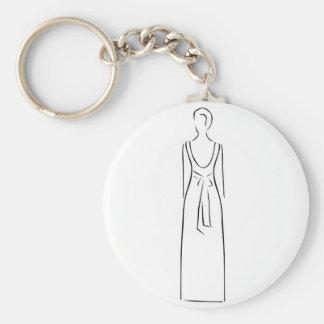 Desenho abstrato de vestir-se magro da mulher chaveiro