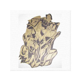 Desenho abstrato no preto e ouro em canvas impressão em canvas
