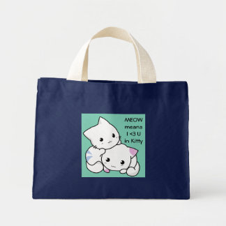 Desenho bonito do gatinho do menino e da menina no sacola tote mini