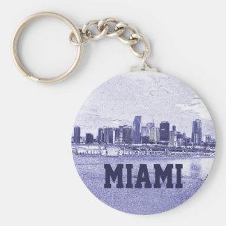 Desenho de lápis da skyline de Miami, Florida Chaveiro