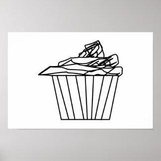 Desenho delicioso do cupcake poster