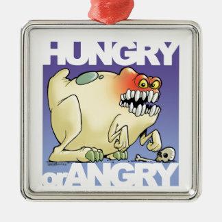 desenho humorístico, monster-hungry-OR-angry Ornamento Quadrado Cor Prata