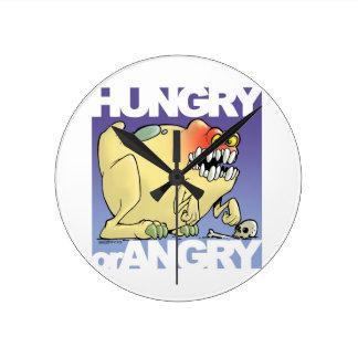 desenho humorístico, monster-hungry-OR-angry Relógio Para Parede