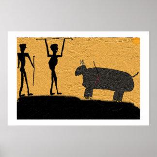 Desenho pré-histórico da caverna de uma caça poster
