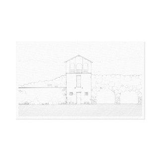 Desenho preto & branco da casa minúscula da impressão em tela