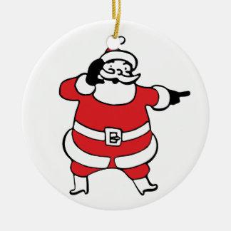 Desenhos animados alegres Papai Noel que chama sua Ornamento De Cerâmica