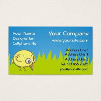 Desenhos animados amarelos do pássaro cartão de visitas
