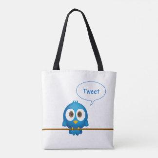 Desenhos animados azuis do pássaro do twitter bolsas tote