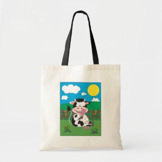 Desenhos animados bonitos da vaca do bebê bolsa tote