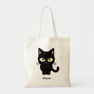 Desenhos animados bonitos do meow do gato preto bolsa tote