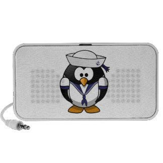 Desenhos animados bonitos do pinguim do marinheiro caixinha de som para notebook