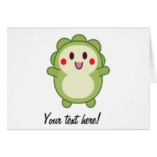 Desenhos animados bonitos verdes do monstro cartão comemorativo