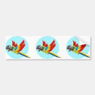 Desenhos animados coloridos felizes do papagaio adesivo de para-choque
