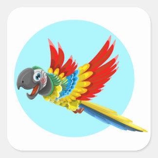 Desenhos animados coloridos felizes do papagaio adesivo quadrado