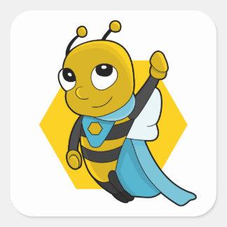 Desenhos animados da abelha do super-herói adesivo quadrado