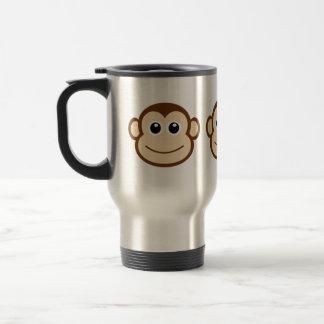 Desenhos animados da cara do macaco caneca térmica